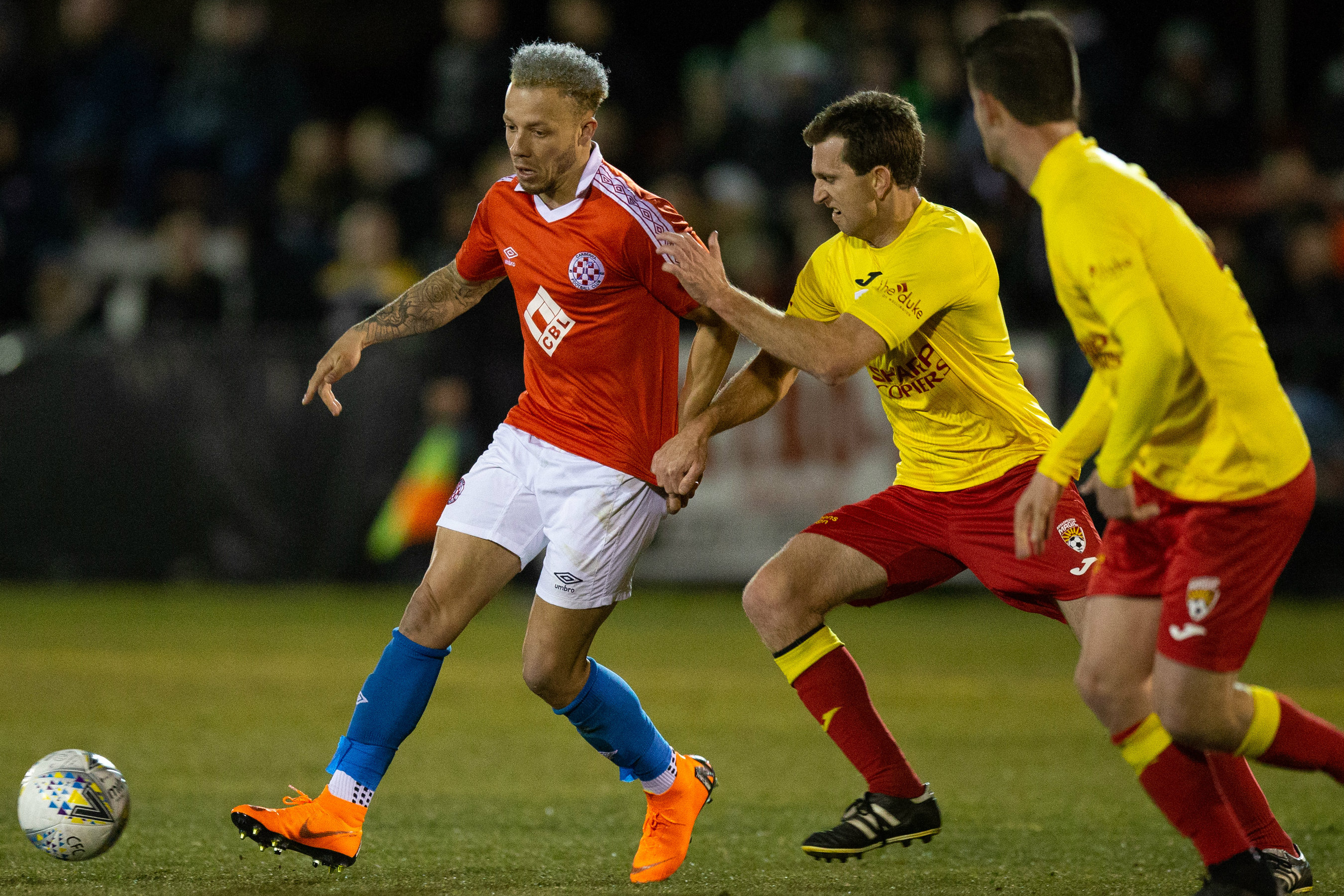 Thomas James in action in this year's FFA Cup
