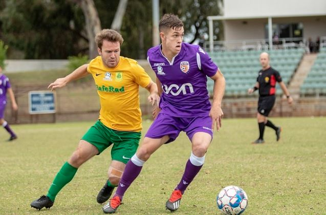Action from Perth Glory's impressive win over Rockingham City