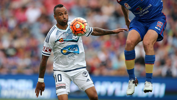 Archie Thompson in action for Melbourne Victory in Season 11 against Newcastle Jets.