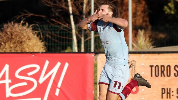 APIA Leichardt player Jordan Murray celebrating a goal.